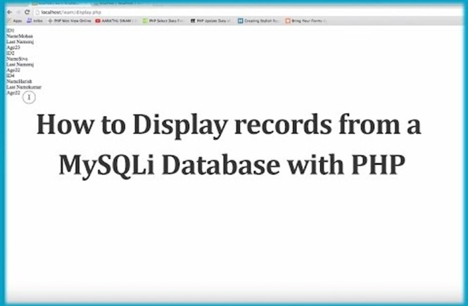 How to Display records from a MySQLi Database with PHP