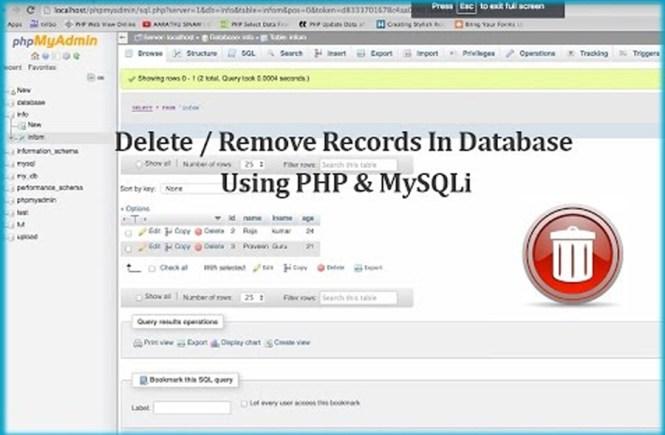 Delete / Remove Records In Database Using PHP & MySQLi