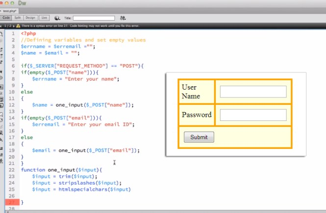 Form Validation using HTML & PHP