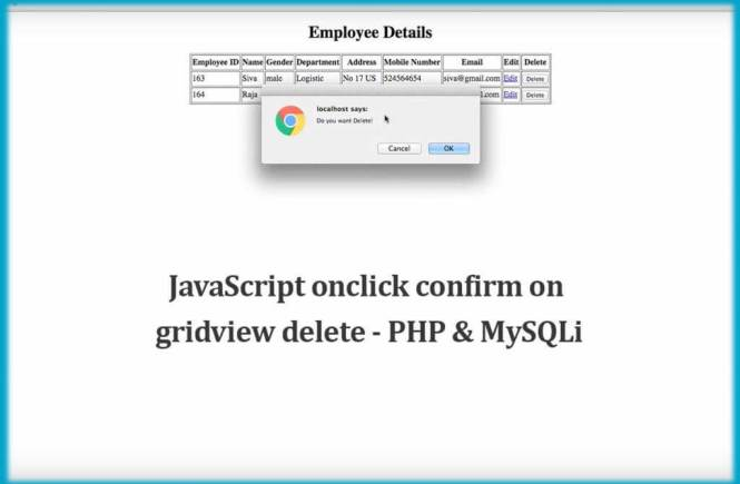 JavaScript onclick confirm on gridview delete - PHP & MySQLi