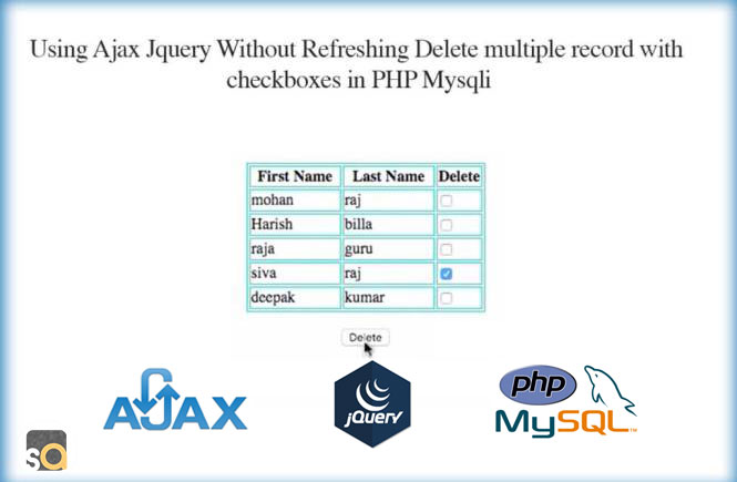 Using Ajax jQuery Without Refreshing Delete multiple record with checkboxes in PHP Mysqli
