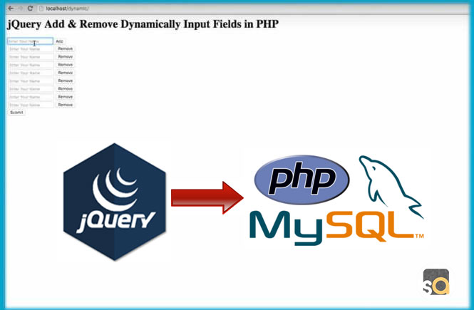 jQuery Add & Remove Dynamically Input Fields in PHP