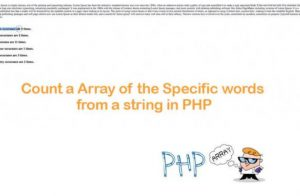 Count a Array of the Specific words from a string in PHP