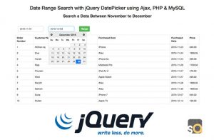 Date Range Search with jQuery DatePicker using Ajax, PHP