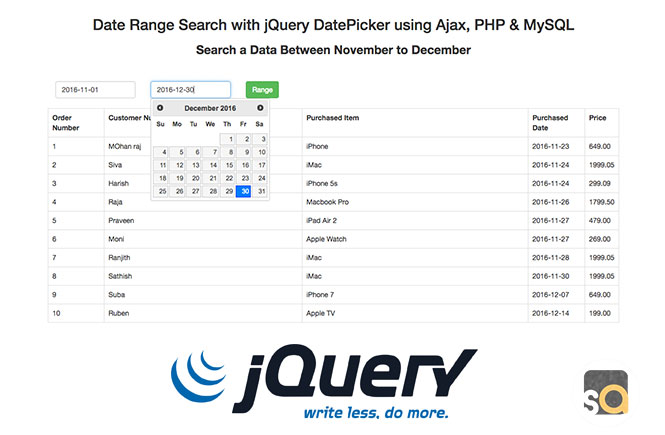Date Range Search with jQuery DatePicker using Ajax, PHP & MySQL