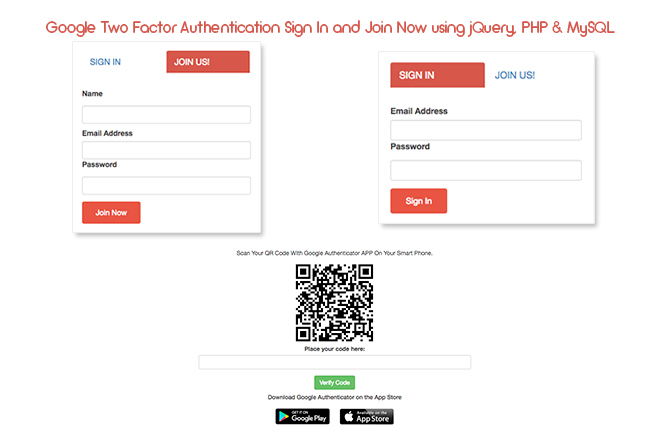 Google Two Factor Authentication Sign In and Join Now using jQuery, PHP & MySQL