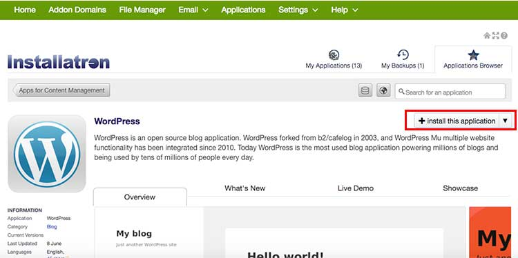 WordPress-Click-on-Install-This-Application