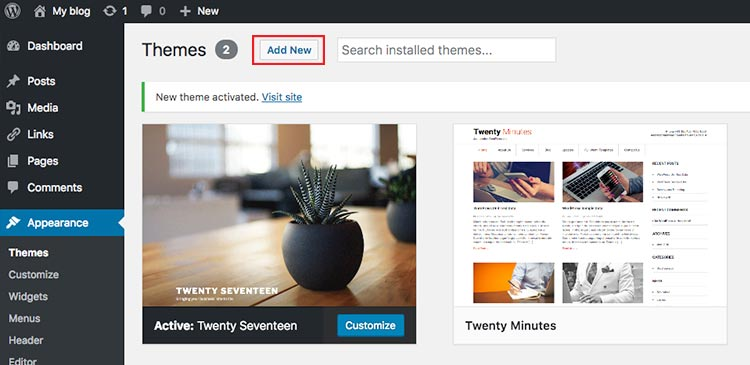 add a new theme WordPress