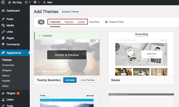 Featured, Popular & Latest themes WordPress
