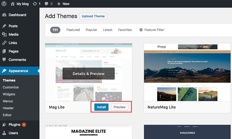 install and preview theme WordPress