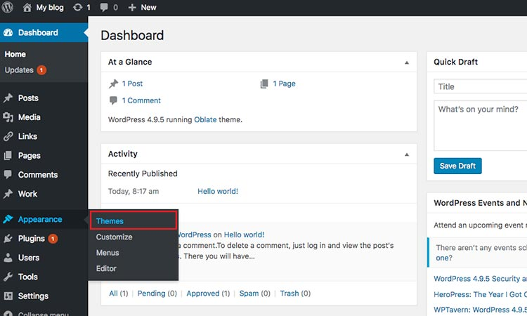 WordPress theme click install