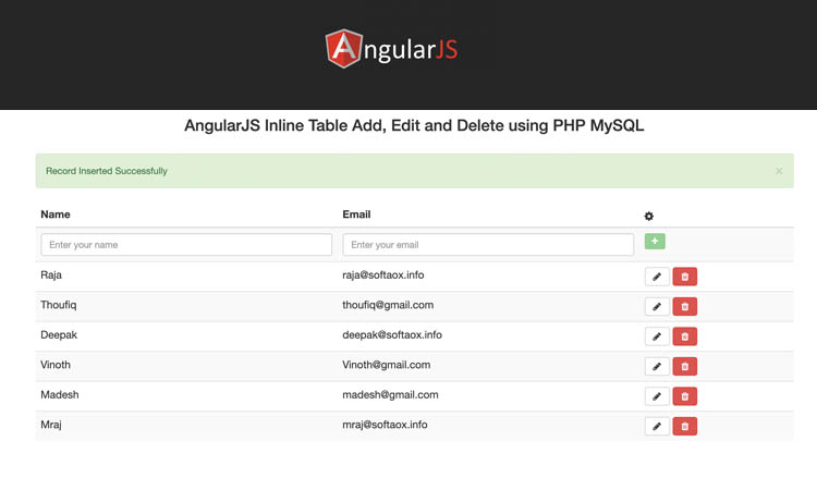 AngularJS Inline Table Add, Edit and Delete using PHP MySQL