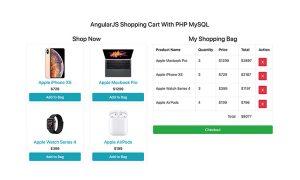 AngularJS Shopping Cart With PHP MySQL