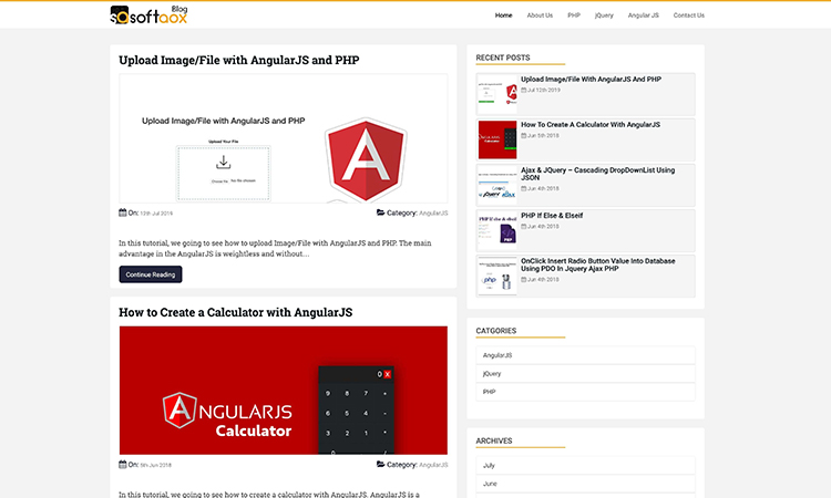 Dynamic Blog with PHP and MySQL - Front View