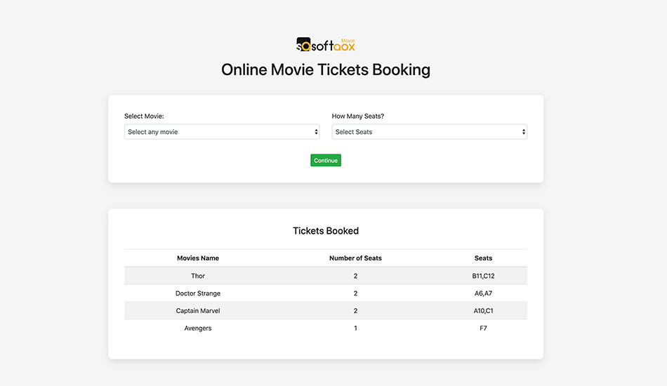 Online Movie Tickets Booking using jQuery