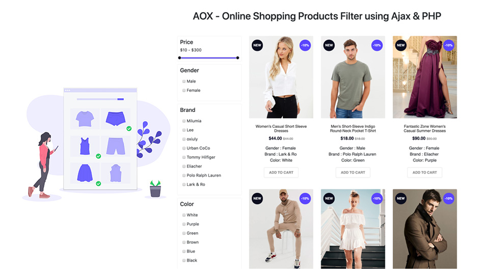 Online Shopping Products Filter using Ajax & PHP