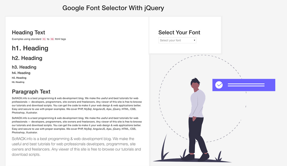 Google Font Selector With jQuery
