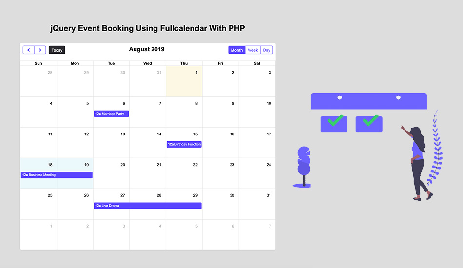 jQuery Event Booking Using FullCalendar With PHP :