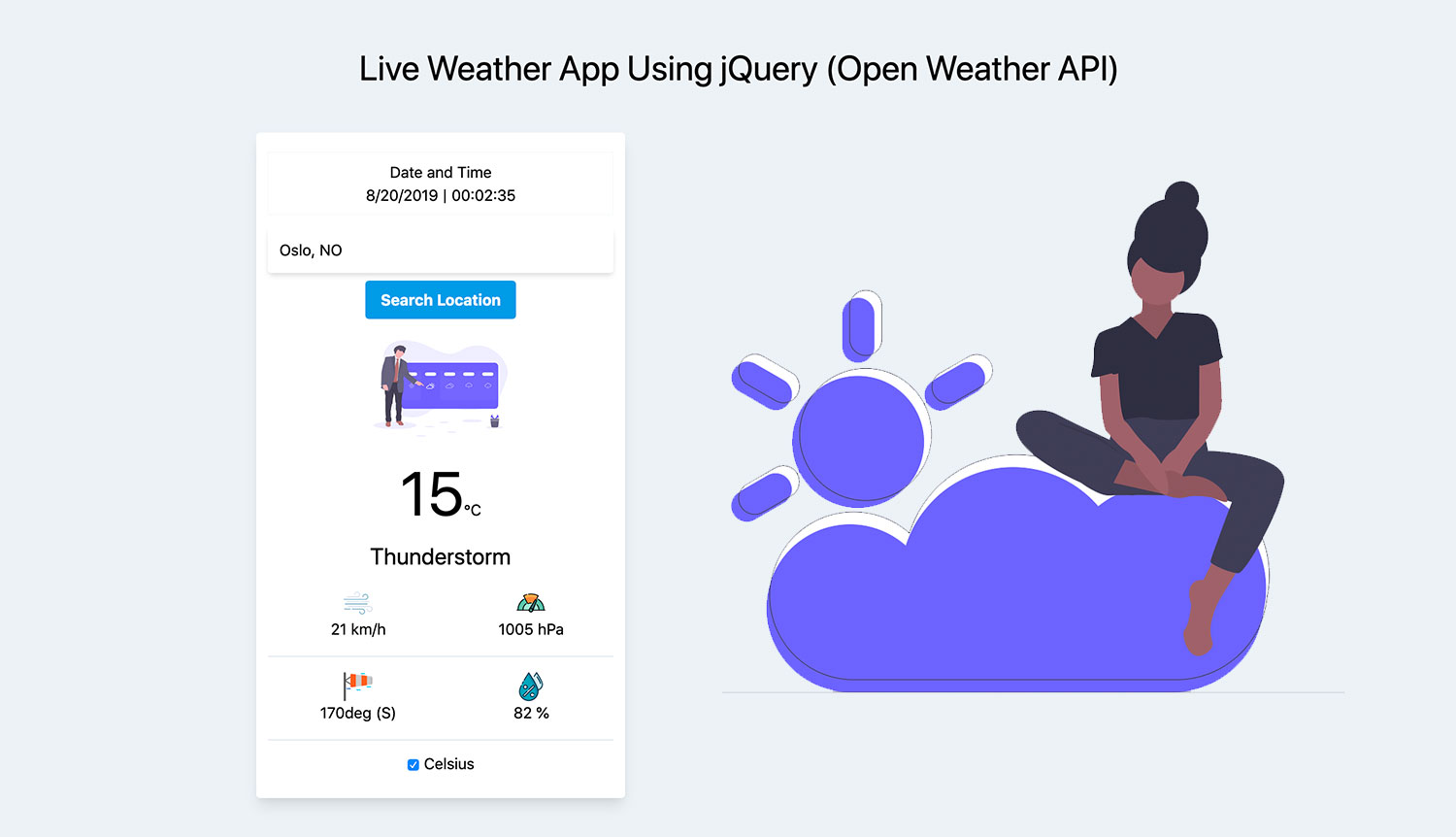 Live Weather App Using jQuery with Open Weather API