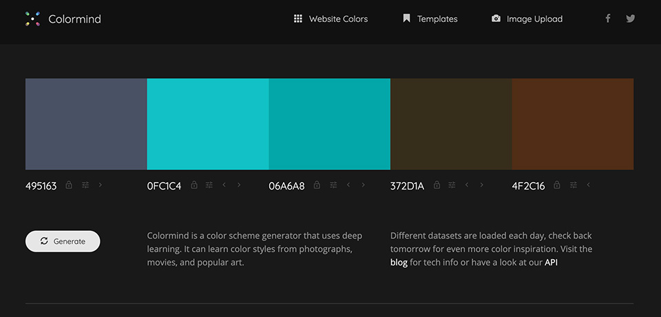 Colormind - the AI powered color palette generator