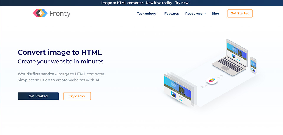 Fronty: Image to HTML converter. Create website in minutes