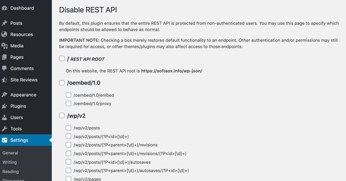 An alternative to Disable the WP Rest API with WordPress Plugin