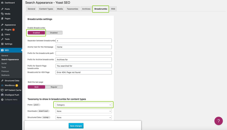 Breadcrumbs Using Yoast WordPress Plugin