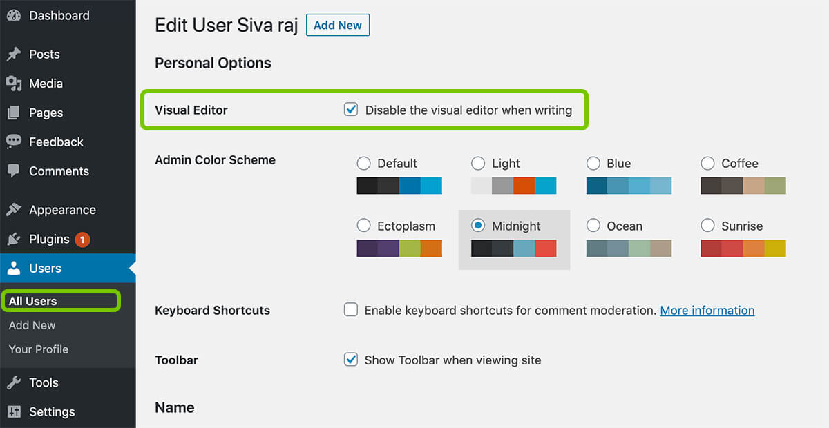 Disable Visual Editor Mode for Particular User