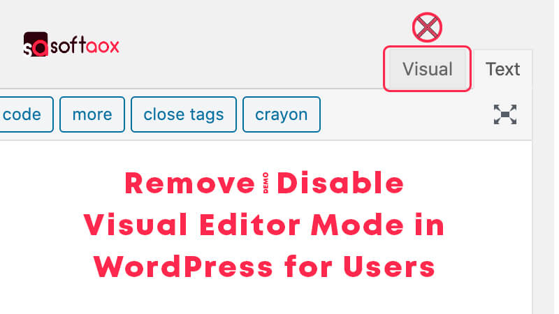 Remove/Disable Visual Editor Mode in WordPress for Users