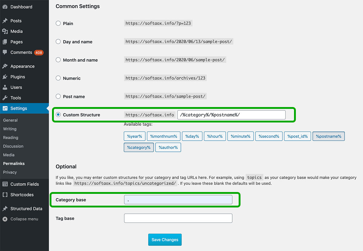 Remove the Category Prefix From the WordPress URL Using Permalinks Option