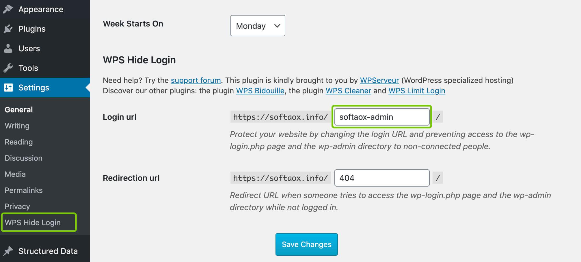WPS Hide Login Plugin Logo path change output