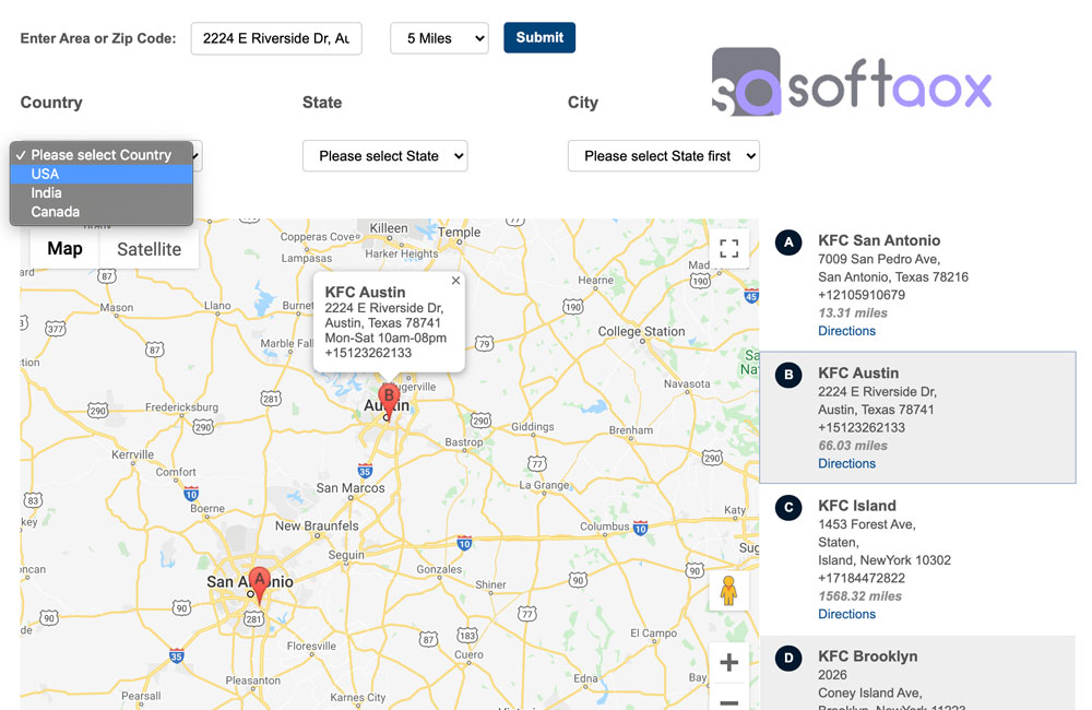 jQuery Store Locator Google Map With Country, State, City Dropdown