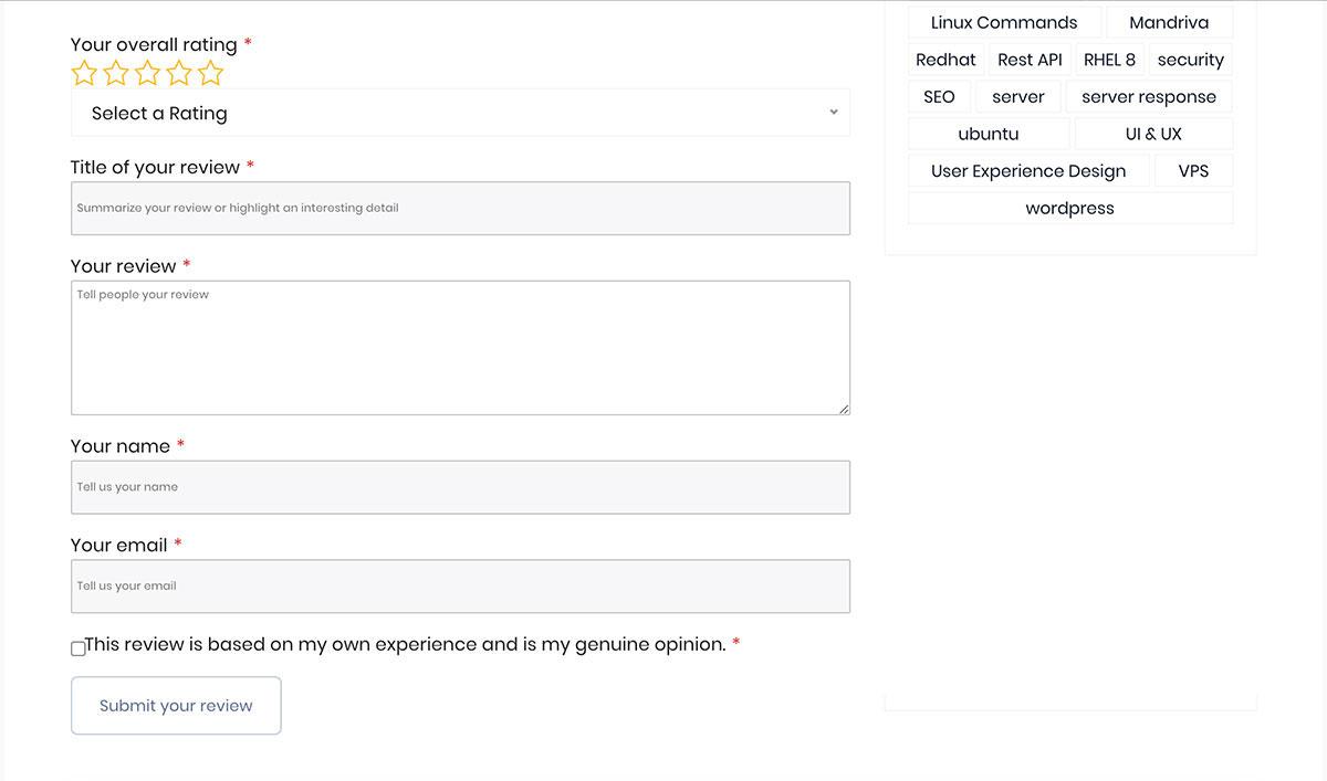 site reviews plugin output demo