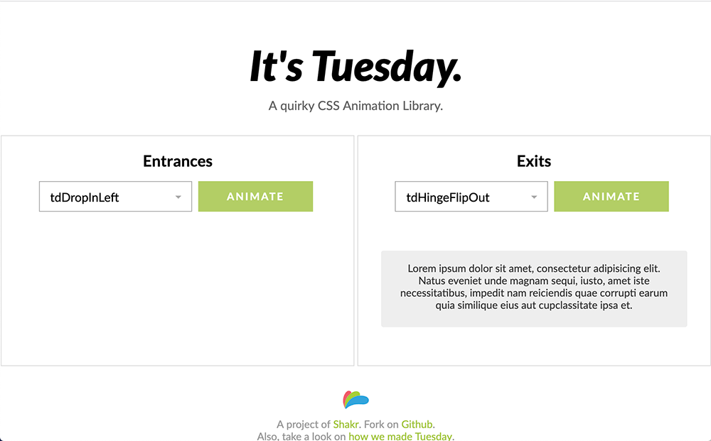 It's Tuesday CSS Animation Library