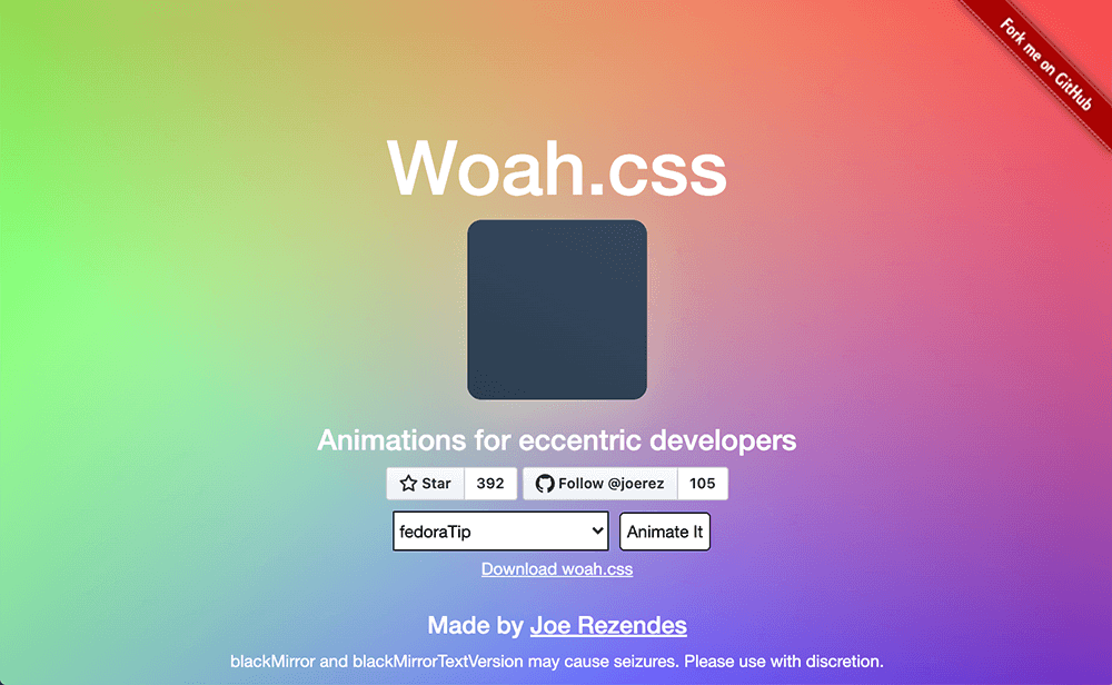 Woah.css Animation library